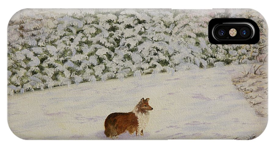 Sheltie IPhone X Case featuring the painting Nelleke by Douglas Ann Slusher