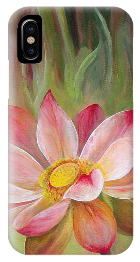 Flower IPhone X Case featuring the painting Nenuphar by Muriel Dolemieux