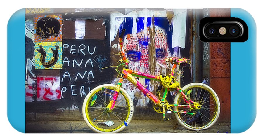 Graffiti IPhone X Case featuring the photograph Neon Bike by William Alger