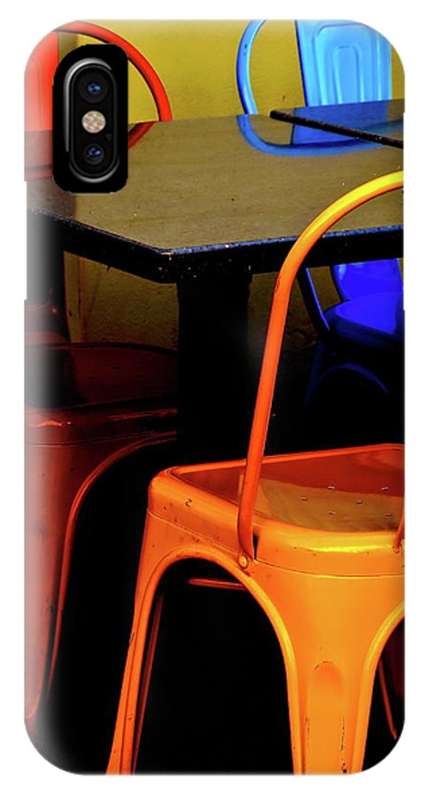 Abstract IPhone X Case featuring the photograph Neon Chairs 1 by Bonnie See
