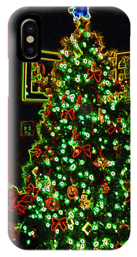 Christmas IPhone X Case featuring the photograph Neon Christmas Tree by Nancy Mueller