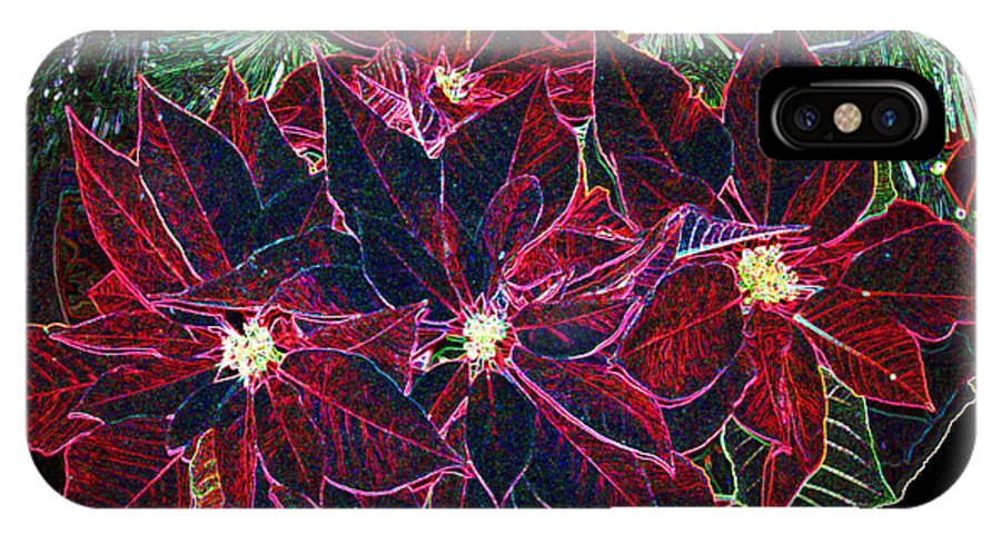 Flowers IPhone X Case featuring the photograph Neon Poinsettias by Nancy Mueller