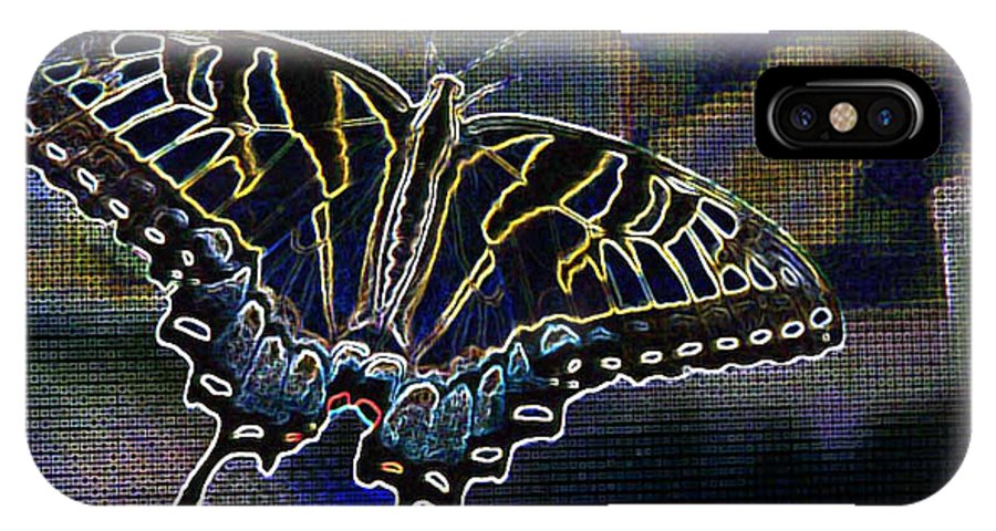 Butterfly IPhone X Case featuring the photograph Neon Swallowtail Butterfly by Janet Pugh