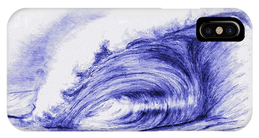 Waves IPhone X / XS Case featuring the drawing Neptunes Left Eye by Kevin Pigg