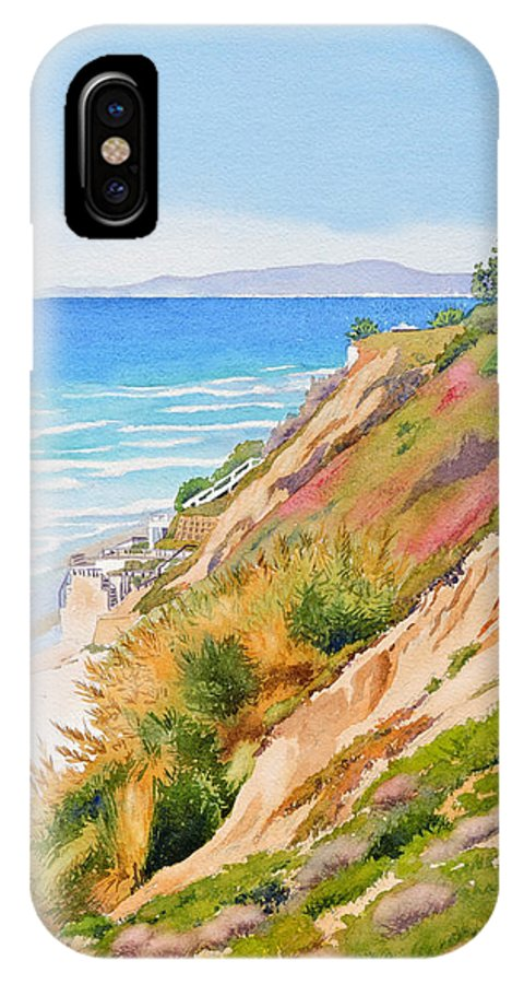 Pacific Ocean IPhone X Case featuring the painting Neptune's View Leucadia California by Mary Helmreich