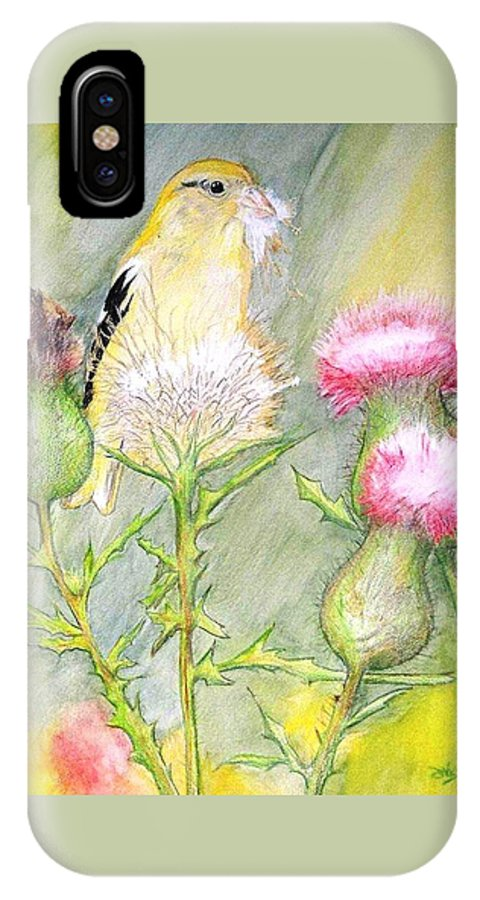 Goldfinch IPhone X Case featuring the painting Nest Fluff by Debra Sandstrom