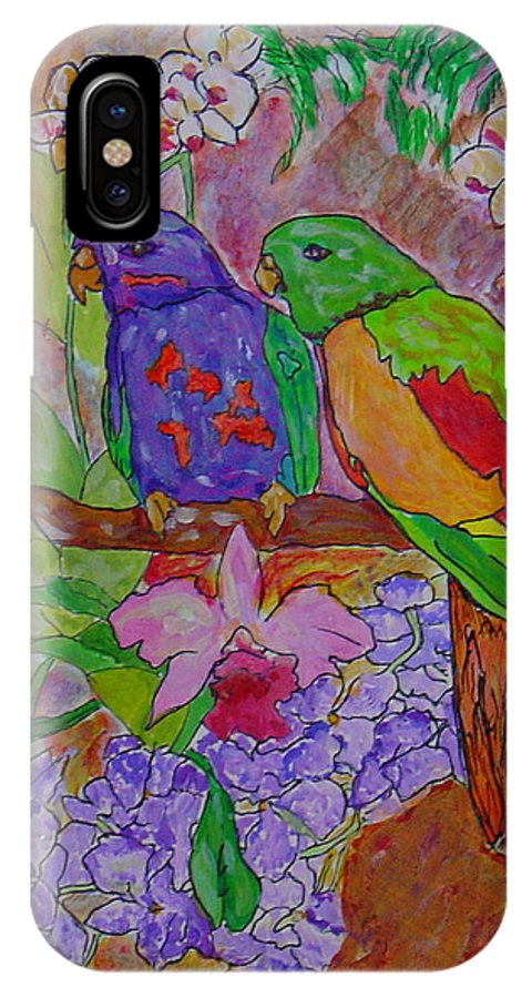 Tropical Pair Birds Parrots Original Illustration Leilaatkinson IPhone X Case featuring the painting Nesting by Leila Atkinson