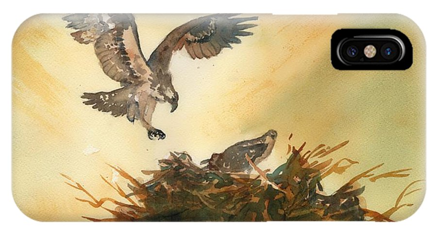 Osprey IPhone X Case featuring the painting Nesting Ospray by Paul Temple