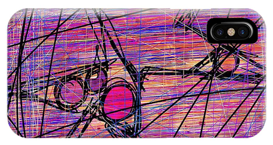 Abstract IPhone X / XS Case featuring the digital art Networking by Rachel Christine Nowicki
