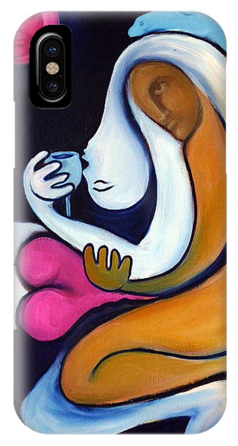 Abstract IPhone X Case featuring the painting Never Tear Us Apart by Valerie Vescovi