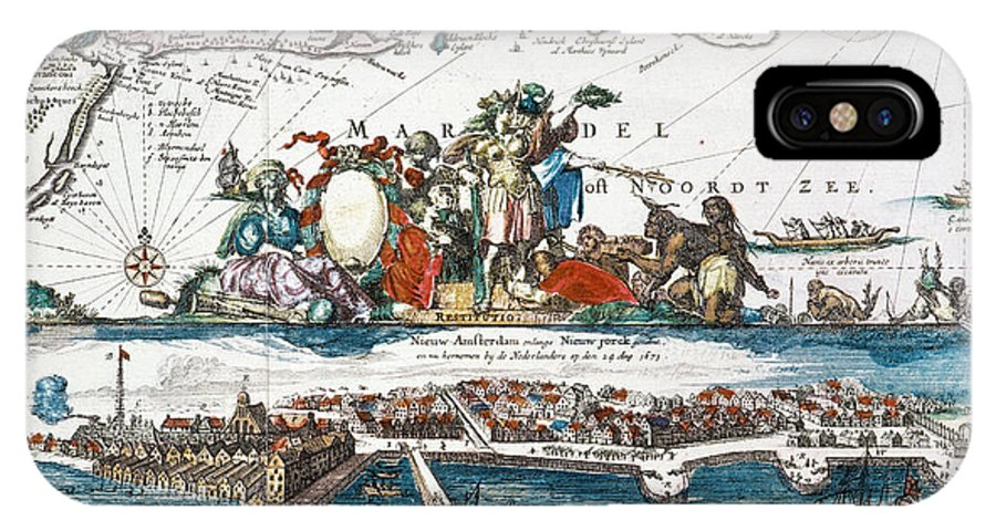 1673 IPhone X Case featuring the photograph New Amsterdam, 1673 by Granger