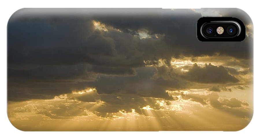Ocean Sunset Sun Cloud Clouds Ray Rays Beam Beams Bright Wave Waves Water Sea Beach Golden Nature IPhone X Case featuring the photograph New Beginning by Andrei Shliakhau
