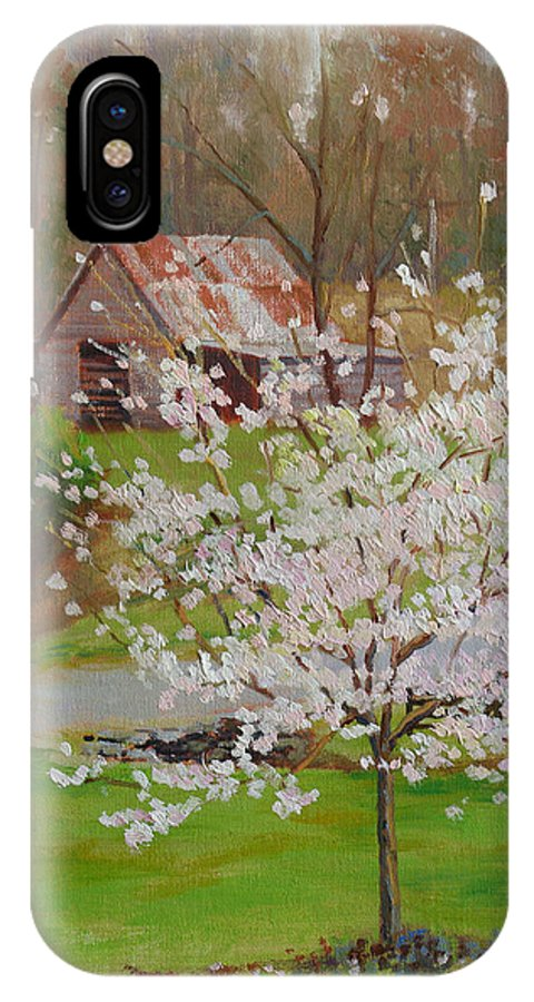 Landscape IPhone X Case featuring the painting New Blossoms Old Barn by Keith Burgess
