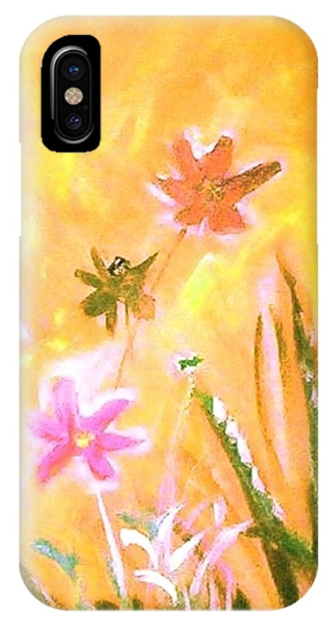 Flowers IPhone X Case featuring the painting New Daisies by Winsome Gunning