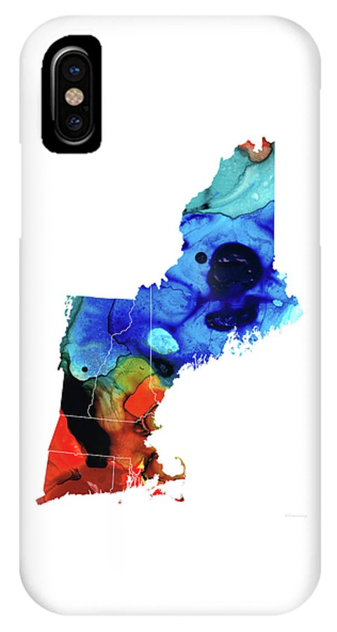 New England IPhone X Case featuring the painting New England - Map By Sharon Cummings by Sharon Cummings