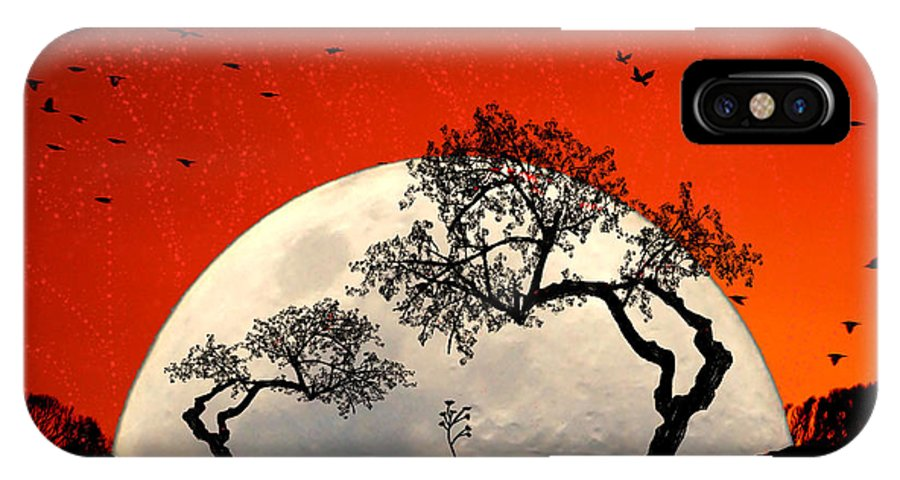 Moon IPhone X Case featuring the digital art New Growth New Hope by Holly Kempe