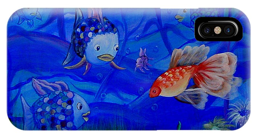Fish IPhone X Case featuring the painting New Kid In Town by Quwatha Valentine