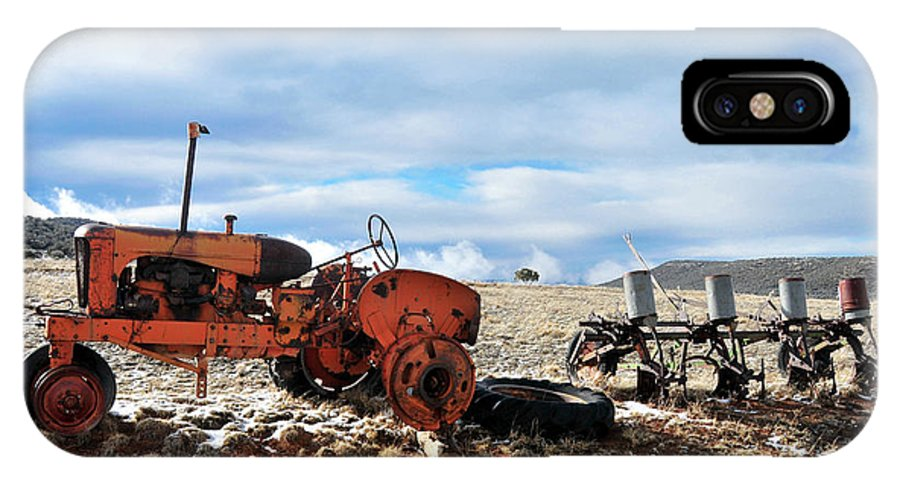 Winter IPhone X Case featuring the photograph New Mexico Tractor by David Arment