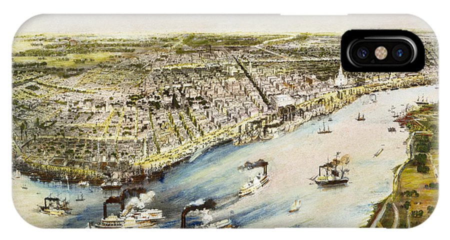 1851 IPhone X Case featuring the photograph New Orleans, 1851 by Granger