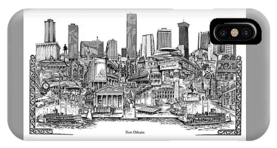 City Drawing IPhone Case featuring the drawing New Orleans by Dennis Bivens