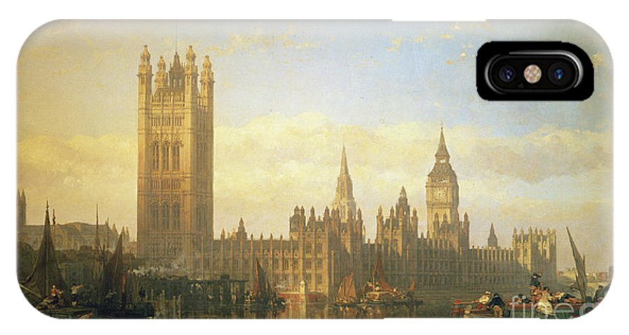 Big Ben IPhone X Case featuring the painting New Palace Of Westminster From The River Thames by David Roberts