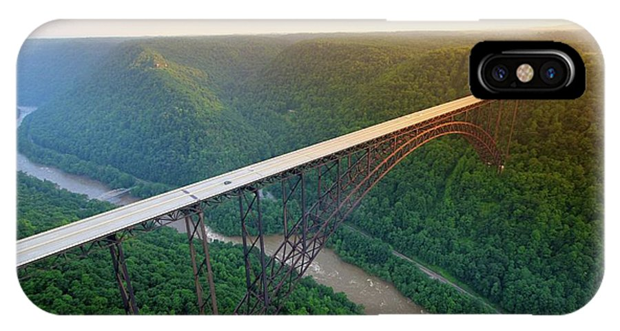 New River Gorge Bridge IPhone X Case featuring the photograph New River Gorge Bridge Aerial by Chris Anthony
