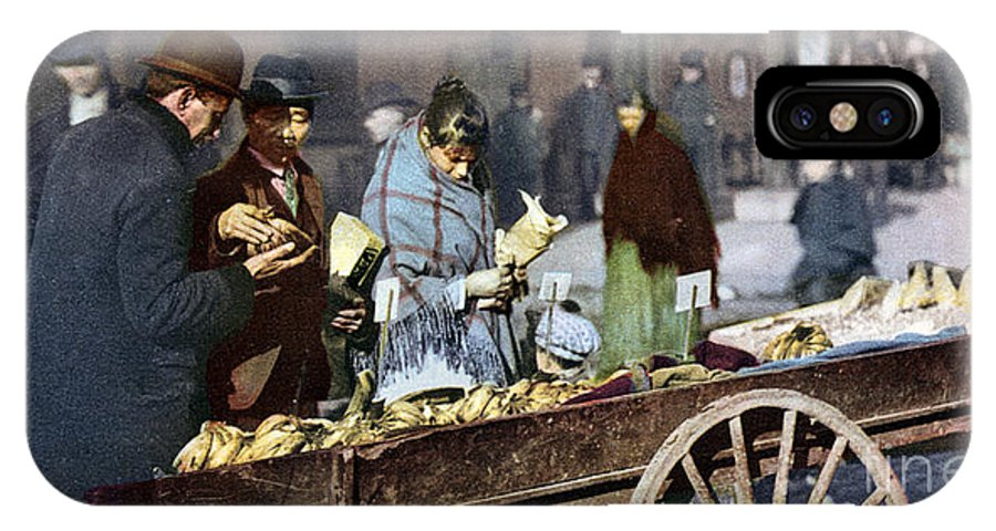 1900 IPhone X Case featuring the photograph New York: Banana Cart by Granger