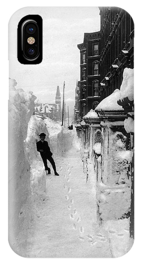 1888 IPhone X Case featuring the photograph New York - Blizzard Of 1888 by Granger