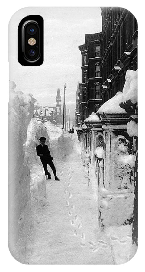 1888 IPhone X Case featuring the photograph New York: Blizzard Of 1888 by Granger