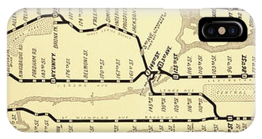 Vintage Subway Map IPhone X Case featuring the painting New York City Subway Map Vintage by Mindy Sommers