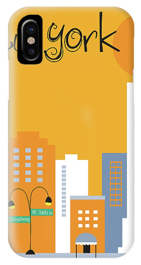 New York City IPhone X Case featuring the digital art New York City Vertical Skyline - Empire State At Dawn by Karen Young