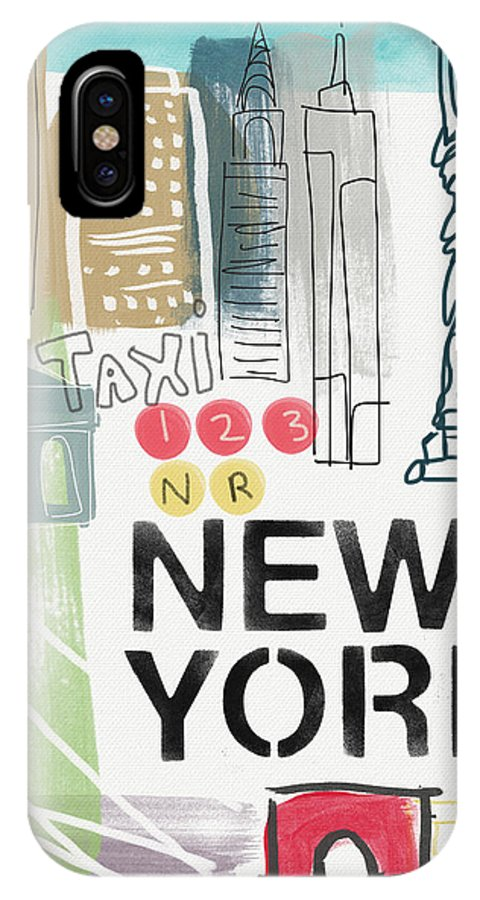 New York IPhone X Case featuring the painting New York Cityscape- Art By Linda Woods by Linda Woods