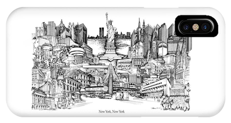 City Drawing IPhone X / XS Case featuring the drawing New York by Dennis Bivens