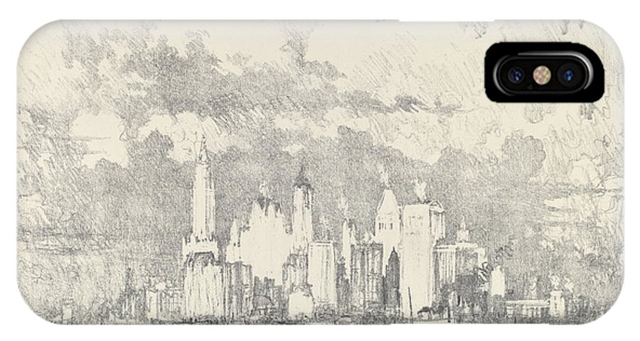 IPhone X Case featuring the drawing New York From Ellis Island by Joseph Pennell