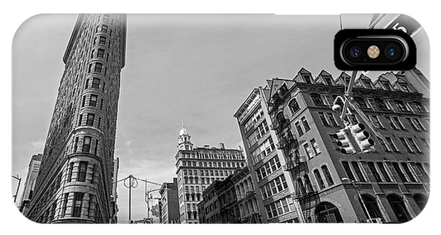 New IPhone X Case featuring the photograph New York Ny Flatiron Building Fifth Avenue Black And White by Toby McGuire