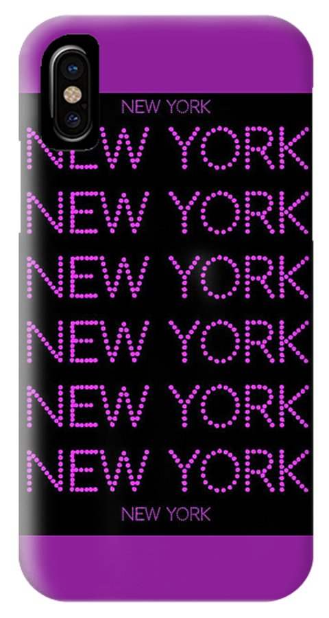 New York IPhone X / XS Case featuring the digital art New York - Pink On Black Background by LogCabinCottage