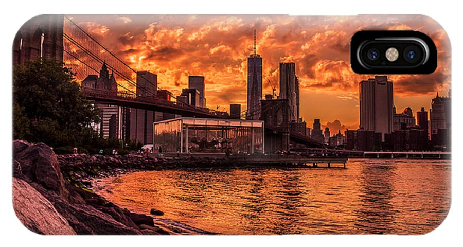 Sunset IPhone X Case featuring the photograph New York Sunset by Domenico Macri