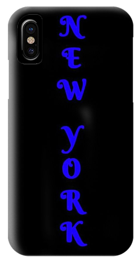 New York IPhone X / XS Case featuring the digital art New York - Vertical Blue On Black Background by LogCabinCottage