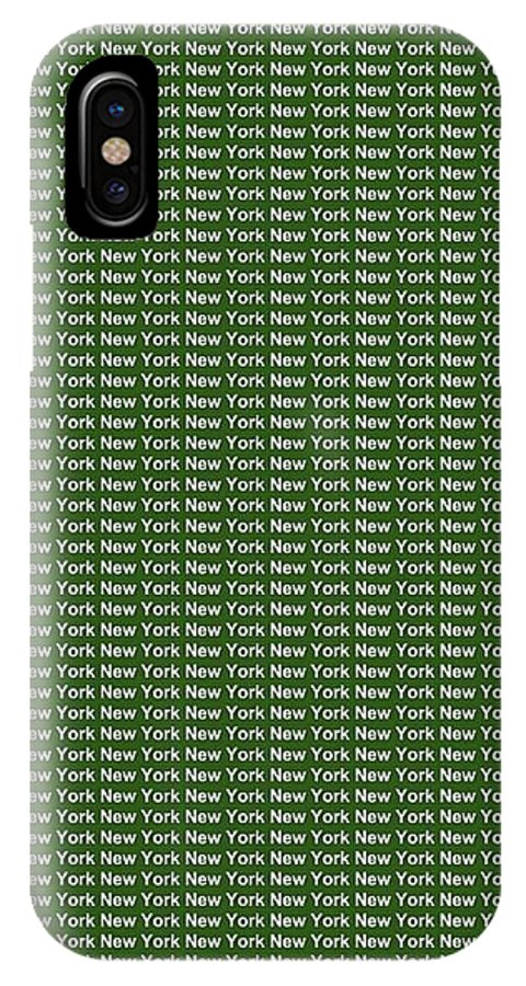 New York IPhone X / XS Case featuring the digital art New York - White On Green Background by LogCabinCottage
