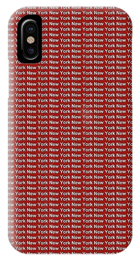 New York IPhone X / XS Case featuring the digital art New York - White On Red Background by LogCabinCottage