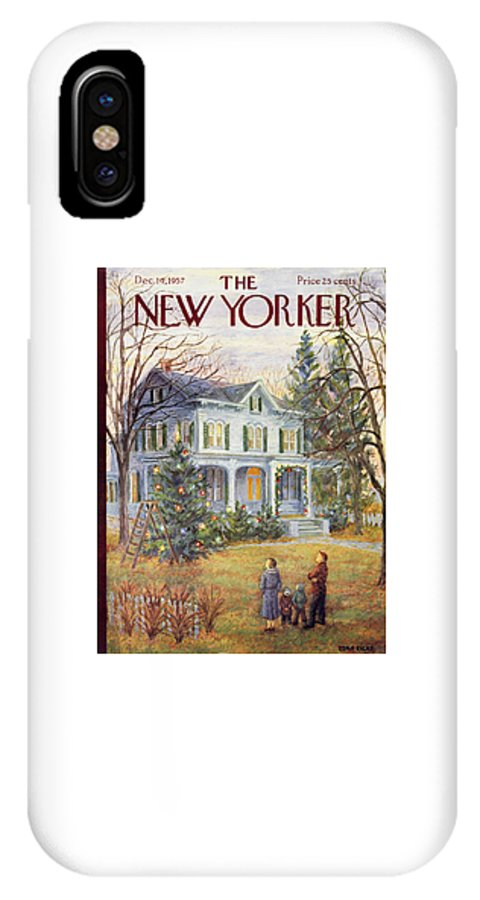 Christmas IPhone X Case featuring the painting New Yorker December 14 1957 by Edna Eicke