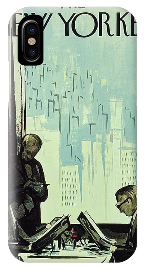 Illustration IPhone X Case featuring the painting New Yorker January 16 1960 by Arthur Getz
