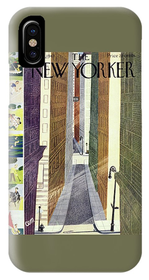 Urban IPhone X Case featuring the painting New Yorker July 5th, 1947 by Charles E Martin