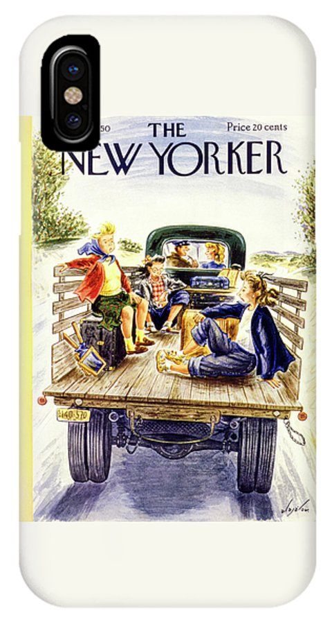 Girls IPhone X Case featuring the painting New Yorker July 8 1950 by Constantin Alajalov