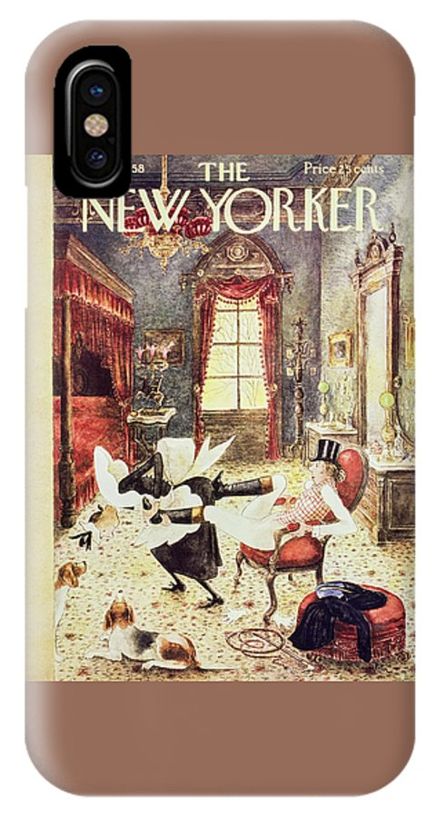 Maid IPhone X Case featuring the painting New Yorker March 1 1958 by Mary Petty