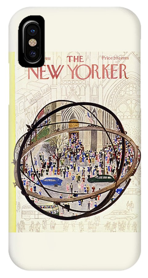Parishioners IPhone X Case featuring the painting New Yorker May 12 1951 by Ilonka Karasz