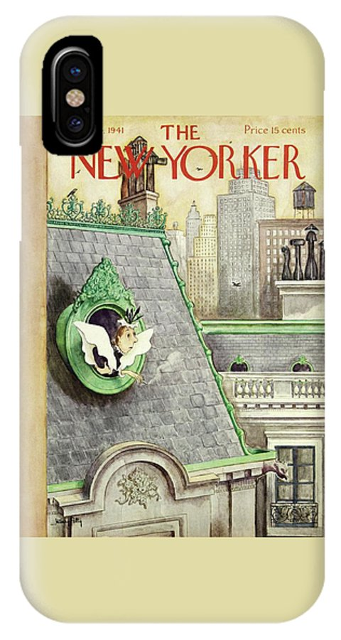 Smoking IPhone X Case featuring the painting New Yorker May 24 1941 by Mary Petty