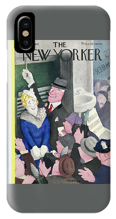 Election Day IPhone X Case featuring the painting New Yorker November 1 1941 by William Cotton