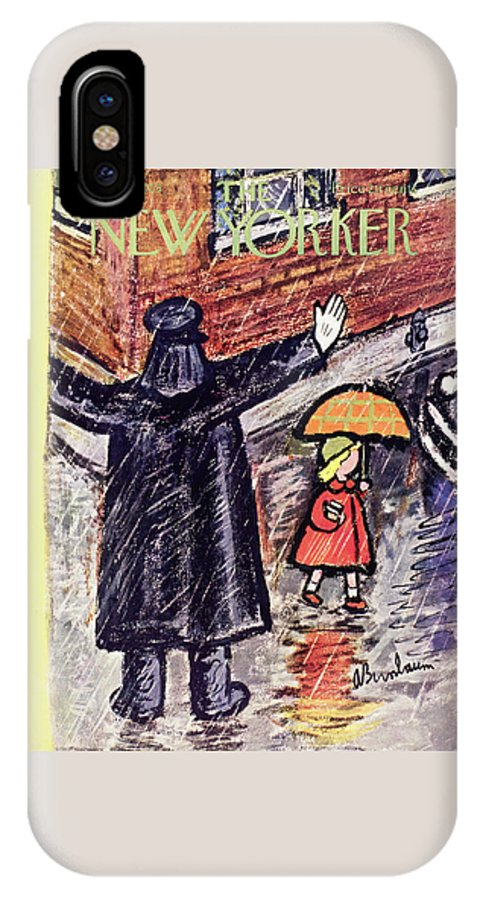 Crossing Guard IPhone X Case featuring the painting New Yorker October 10 1953 by Abe Birnbaum