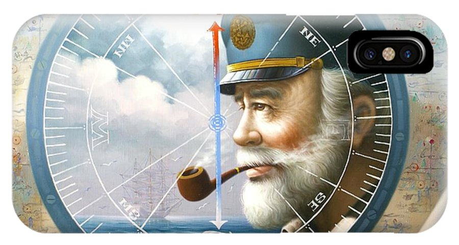 Sea Captain IPhone X Case featuring the painting News Map Captain Or Sea Captain by Yoo Choong Yeul